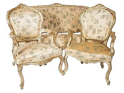 French Suite Sofa Armchairs 2 Gold Damask Ornate Antique Style Chair Louis Chic