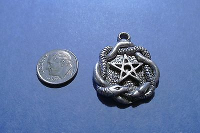 Dozen  Pewter Pentagram Pentacle  With Snake Pendants