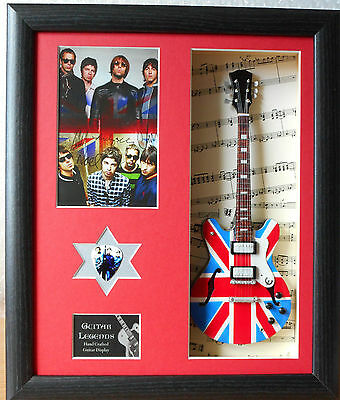Oasis Framed Miniature Tribute Guitar with Plectrum Noel Gallagher