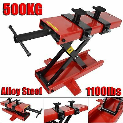 500KG Motorcycle Bike Stand Scissor Lift Jack Motorbike Paddock Workshop Bench