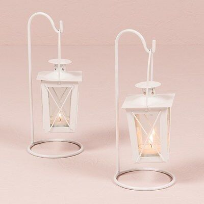 White Vintage Traditional Style Hanging Lantern Table Centrepiece Pack of 2