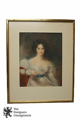19th Century Victorian Portrait of Woman with Monocle in White Dress Framed Lady