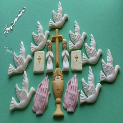 16 Edible Sugar Christening Communion Doves Bible Cake Toppers Decorations