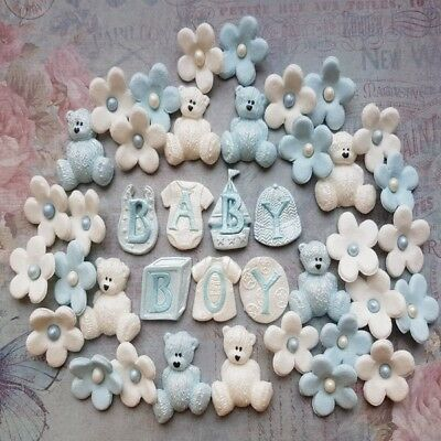 Edible Sugar Christening Baby Boy Decorations Teddy Bears Flowers Cake Toppers