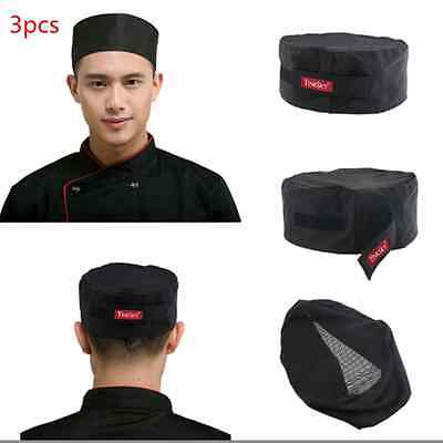 3pcs Mesh Top Skull Cap Pro Catering Chefs Hat Breathable & Adjustable Strap