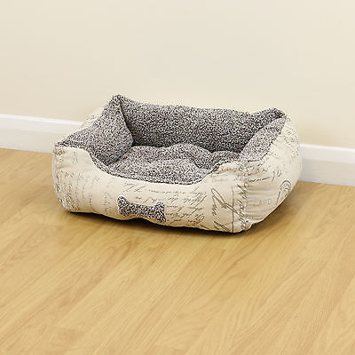 Small Script Super Soft Luxury Fleece Dog/Puppy Cosy Washable Pet Bed Cushion S