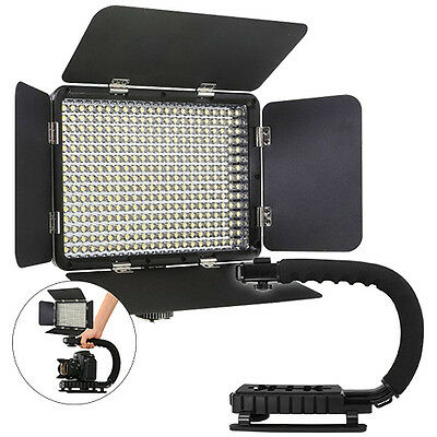 Vidpro LED-330X Variable-Color On-Camera LED Video Light Kit+ Stabilizing Handle