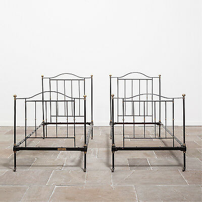 Pair of Single Victorian Iron and Brass Beds by R.W. Winfield. Antique