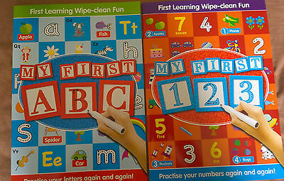 ABC Learn to write 123 Wipe Clean Books Writing Alphabet Numbers Early Learners