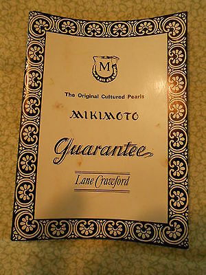 Mikimoto Pearls Guarantee Booklet from Lane Crawford 1967