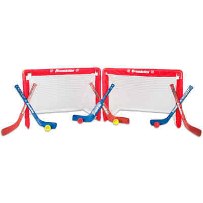 Knee Hockey Set Collapsing Nets w/ Mini Goal Goalie Player Sticks and Balls Red