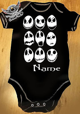 The Nightmare Before Christmas ( JACK FACES) Baby grow personalised Add Name