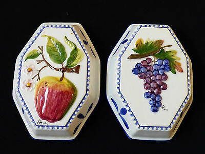 Set of 2 Intrada Italy Hand Painted Decorative Ceramic wall Molds grape & apple