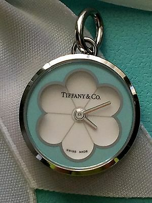 Tiffany & Co. Blue Blossom Watch Pendant Charm blue enamel & stainless steel