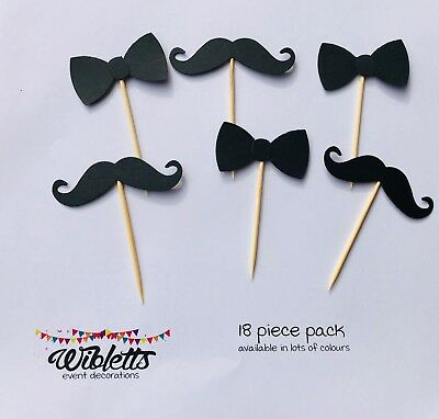 Moustache Mo Bow Tie Cupcake Toppers Picks Black Little Man Hipster Theme Party