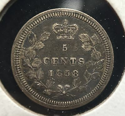 1858 Canada 5 Cents ** Large Over Small Date