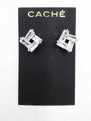 New Pair of Elegant Clear Crystal Earrings by Cache #CE10A