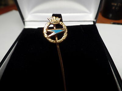 9ct Gold & Blue Enamel Crew Issue BOAC Stick Pin Birm. 1948 Vintage  Airlines
