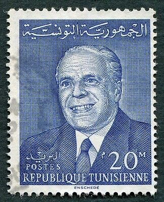 TUNISIA 1964 20m blue SG598 used NG National Day President Bourguiba #W2