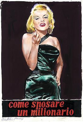 HOW TO MARRY A MILLIONAIRE (1953) Orig Ital. watercolor poster art by Nistri