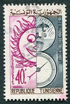 TUNISIA 1964 40m mauve, blue and brown SG595 used NG Meteorological Day #W2