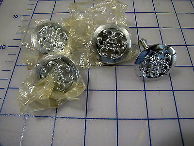 "Nos Chrome 1 1/2"" Round Vintage Drawer Pulls By Jb Qty 4 Steampunk"