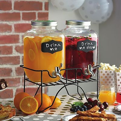 Set Of 2 Glass Mason Jar Drinks Dispenser 3.9L Chalkboard Drinks Dispenser Jars