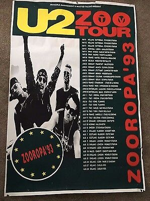 "RARE ~ U2 Promotional Poster ~ Zooropa Tour 1993 ~ Huge! 61"" x 41"""