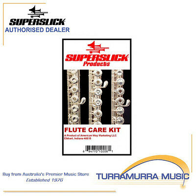 Superslick Flute Care Maintenance Kit - Cloth, Swabs, Brush, Key Rotor Oil FLCK2