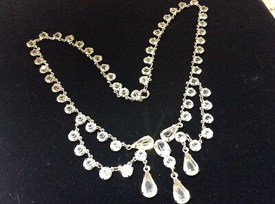 Vintage Art Deco Open Back Crystal Necklace Sterling Silver Dangle Statement