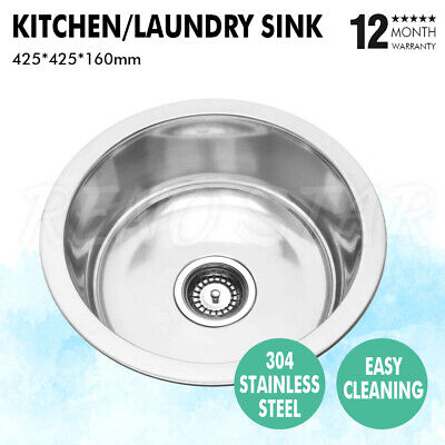 430*430*170mm Stainless Steel 1 Bowl Kitchen Laundry Sink Round 304 #R