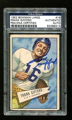 Frank Gifford Signed 1952 Bowman Large #16 Autographed Giants PSA/DNA 83388214