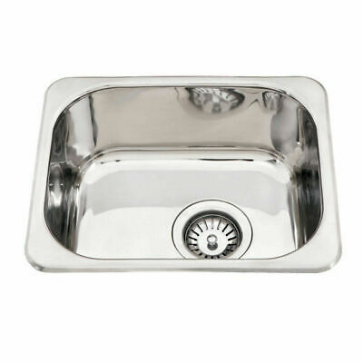 390*320*160mm Stainless Steel 1 Bowl Kitchen Laundry Sink Square Small Topmount