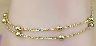 New 18K Gold Filled 2 Chain Rolo Link Beaded Anklet Bridal Wedding Beach