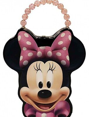 Minnie Mouse Tin Box Carry All Face Shaped Purse with Beaded Handle - Pink