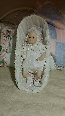 "Danbury Mint MBI 1988 ""Bundle of Joy"" Porcelain Doll 1988 Wicker Basket"