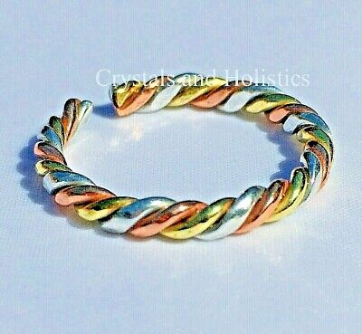 Non Magnetic Pure Copper TWISTED 3 COLOUR RING Healing Reflif Arthritis ( C4 )