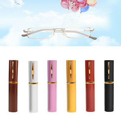 New Glasses Reading Unisex Colors Metal With Tube Case +1.5+2.0+2.5+3.0+3.5+4.0