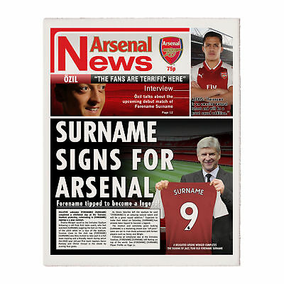 Personalised Football Arsenal FC Newspaper - Single Page - Xmas Gift