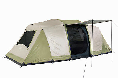 NEW Oztrail Seascape 10 Person Man 3 room Dome Tent - in new CREAM/EUCALYPTUS
