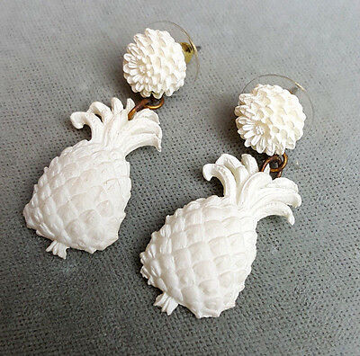 Vintage pierced earrings white celluloid carved/molded dangling pineapples