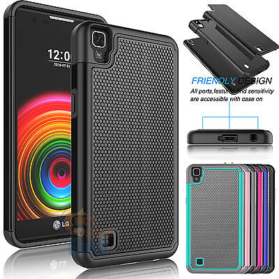 For LG X Power 1 Impact Armor Shockproof Hybrid Rugged Rubber Hard Case Cover