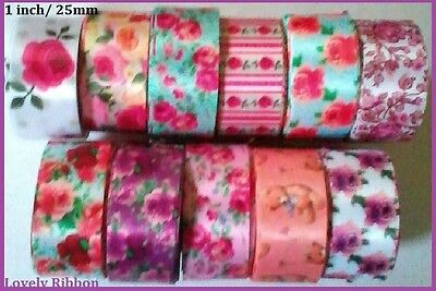 1 metre, FLORAL SATIN, 25mm, Teddy Bear, Ribbon, 1 inch, Free Post, 11 Designs