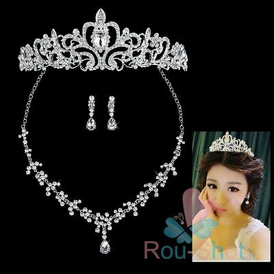 Bridal Wedding Party Jewelry Rhinestone Tiara Diadem Necklace Earrings【AU】