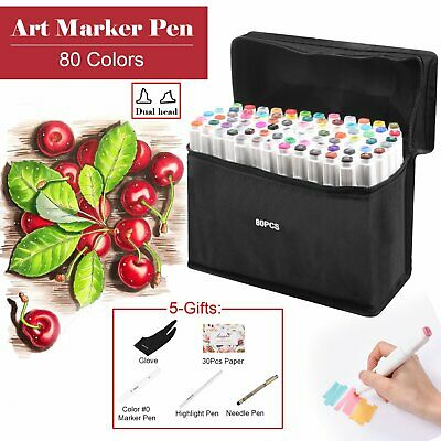 Hot! 40 60 80 Color Set Animation Marker Pen Graphic Art Sketch Twin Broad Fine