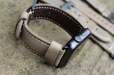 Brown Leather Watch Strap Band for Apple watch Series 1 2 & 3 42mm Black Fixings