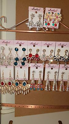 Joblot of 12 Pairs Mixed Design Sparkly Diamante Dangly Earrings-NEW Wholesale B