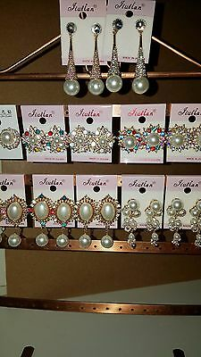 Joblot of 12 Pairs Mixed Design Sparkly Diamante Earrings  NEW Wholesale C