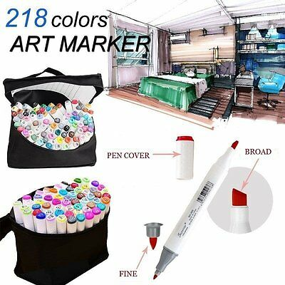 Twin Marker Pen 218 General Color Set Alcohol Graphic Sketch Art Drawing Glove