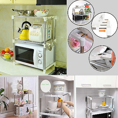 Multi Functional Kitchen Shelf Telescope Frame Adjustable Stand Microwave Rack